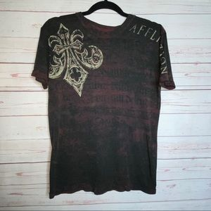 Affliction Burnout Short Sleeve Tee Size S